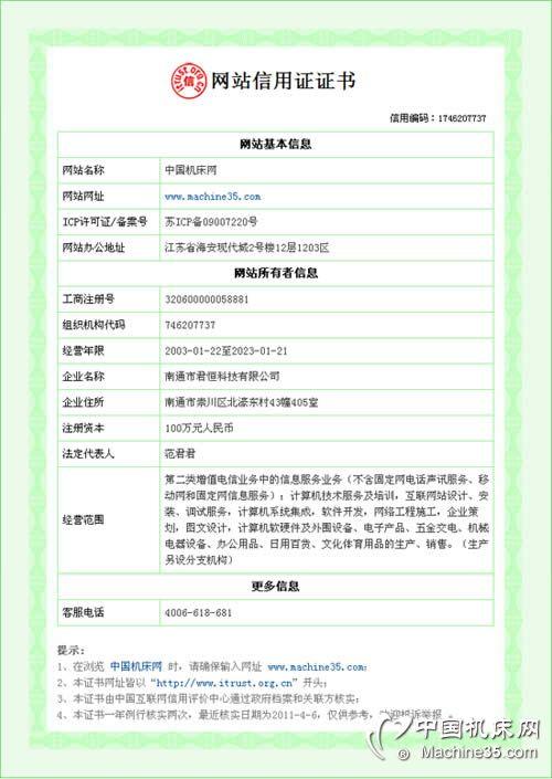 傲立机床网网站信用证证书