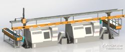 数控机床桁架机械手 上下料桁架机械手 双机床三立柱桁架机器人