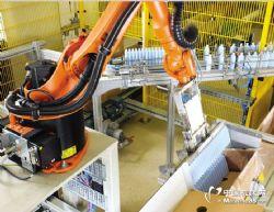 瓶装品机器人装箱代替人工 库卡机器人本体