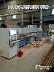 全自动实木曲线开料锯厂家、实木自动弧形切割锯床价格