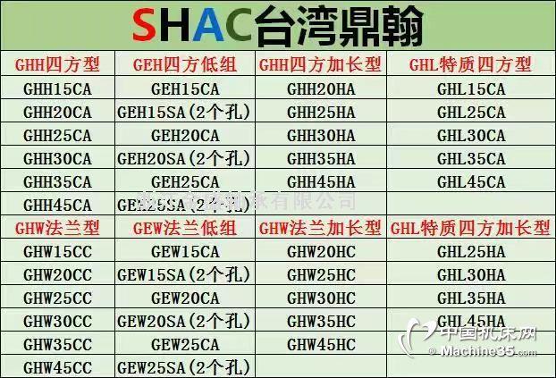 厂家直销滚珠丝杆线型导轨直线轴承台湾鼎翰上银互换SHAC